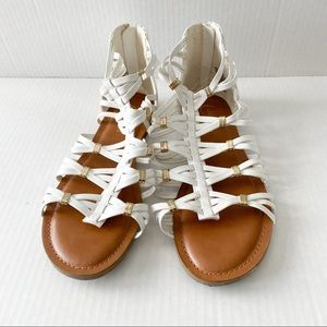 Candies white and gold gladiator sandals size 8